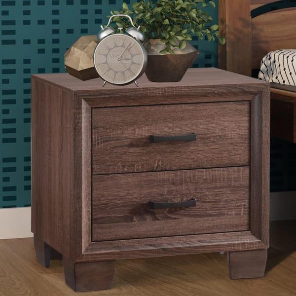 Wooden 2-Drawer Medium Warm Brown Nightstand