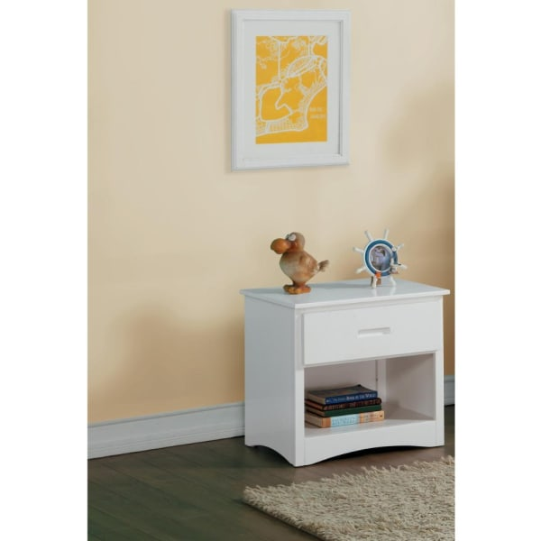 Wooden White with Bottom Shelf Night Stand