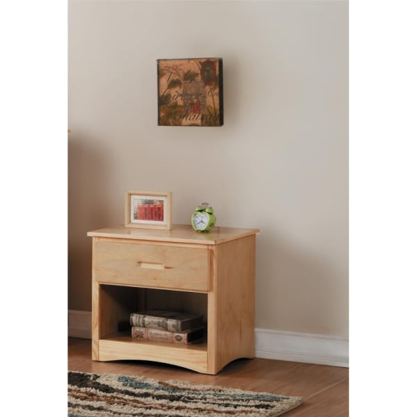 Wooden Natural Brown with Bottom Shelf Nightstand