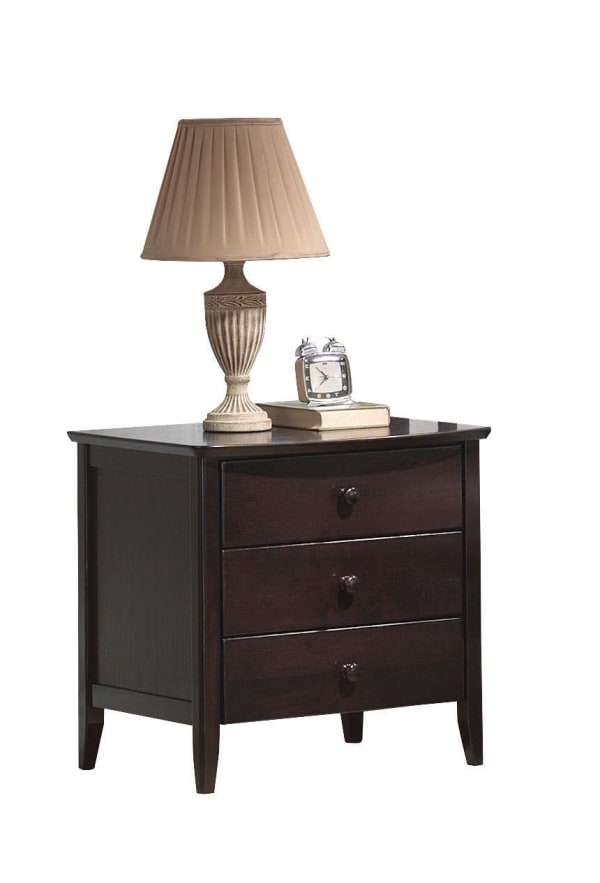 3-Drawers Wooden Dark Walnut Brown Nightstand