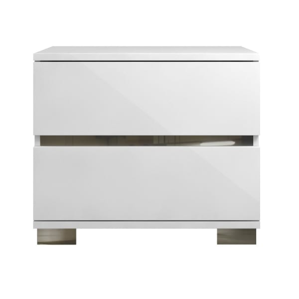 2-Drawers Acrylic Lacquer White with Chrome Legs Nightstand
