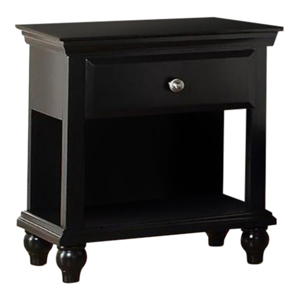 Poplar Wood Black Nightstand