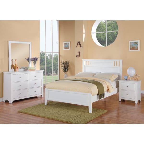 2-Drawers Pine Wood White Nightstand