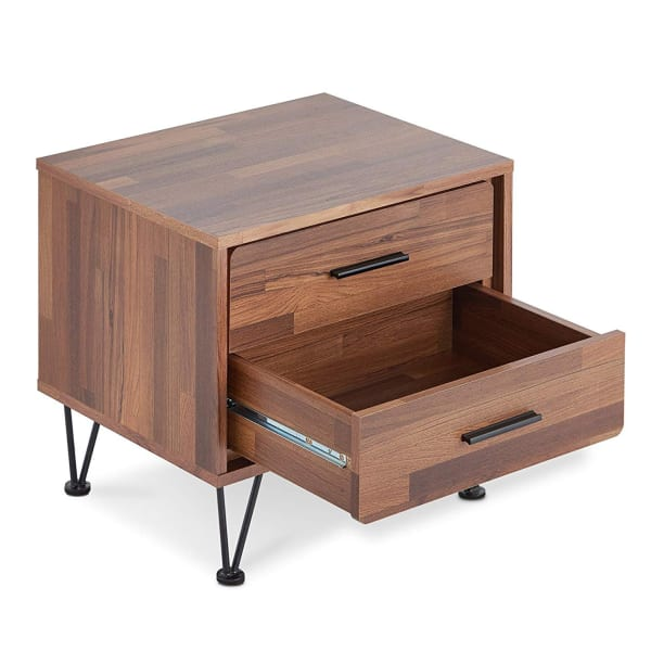 Deoss Contemporary 2-Drawers Wood Brown Nightstand