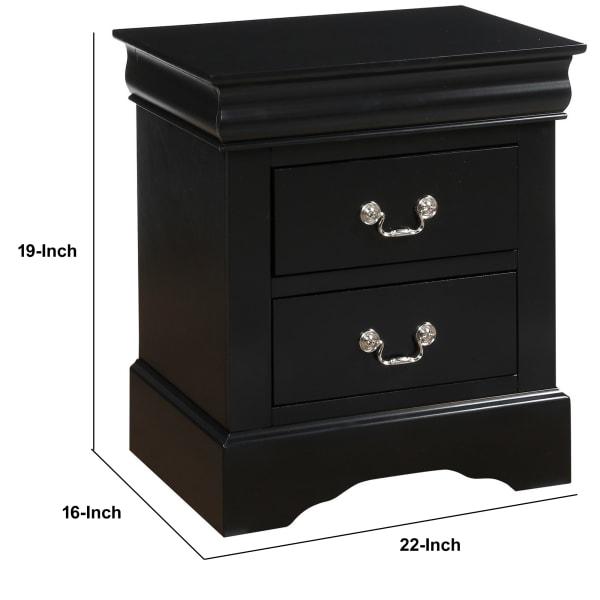 Antique Metal Handles 2-Drawer Wooden Black Nightstand
