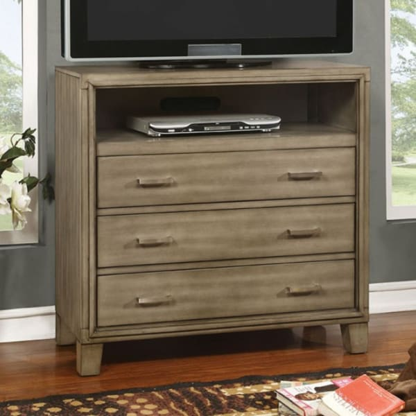 Gray 3-Drawer Wooden Media Chest