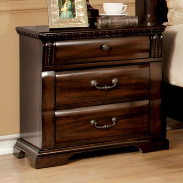 Metal Handles and Carved Details 3-Drawer Wooden Brown Nightstand