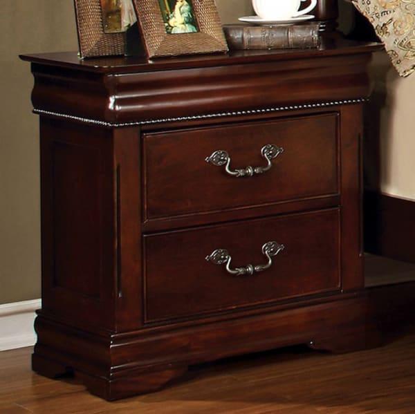 Hidden Top Drawer and Metal Handles 2-Drawer Wooden Brown Nightstand