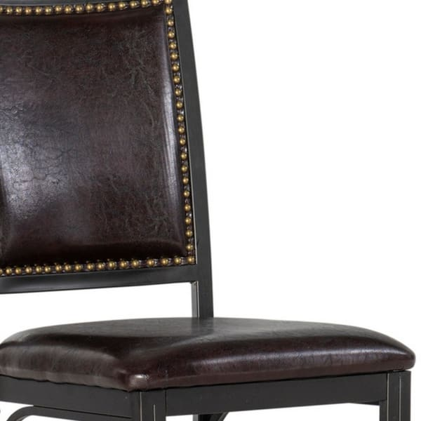 18.5 inch Metal Frame Leatherette Side Chair, Brown and Black