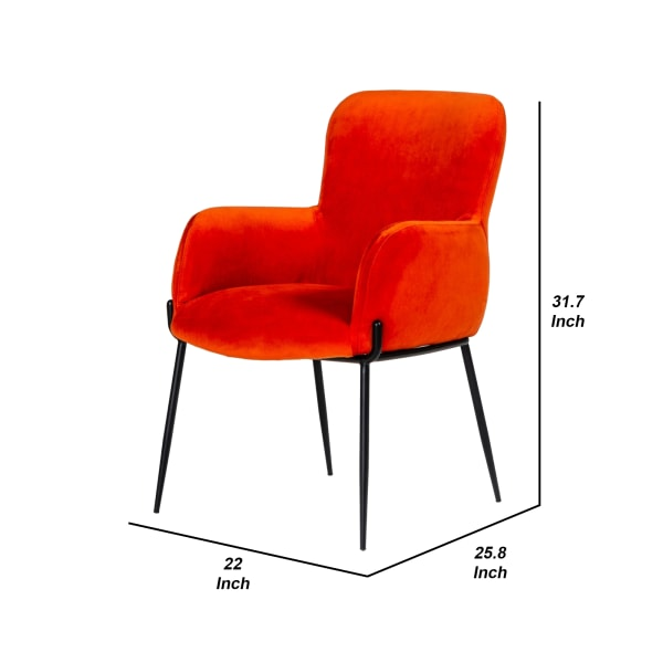 Curved Design Fabric Dining Chair with Sleek Tapered Legs, Orange