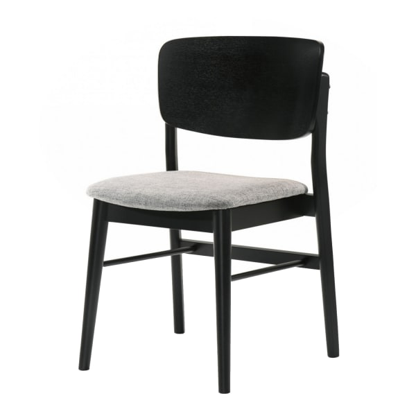 Fabric Dining Chair with Open Curved Backrest, Set of 2, Gray and Black