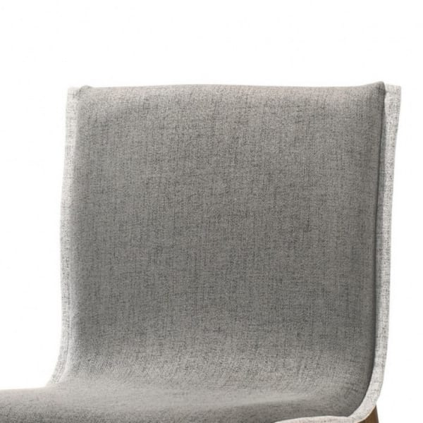 Sloped Design Fabric Dining Chair with Contrast Accent Trim, Set of 2, Gray