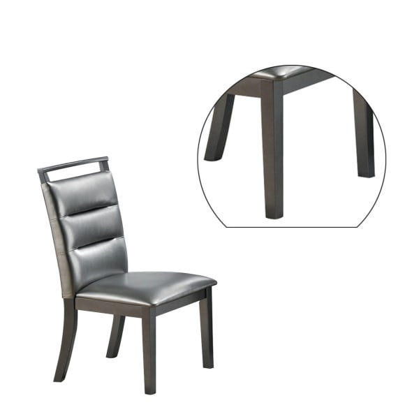 Faux Leather Dining Chair with Horizontal Tufting, Set of 2, Gray