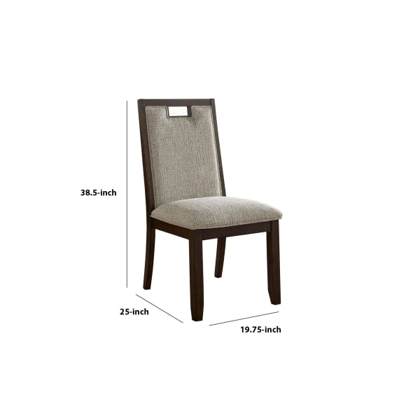 Wood and Fabric Padded Side Chair, Set of 2, Brown and Beige