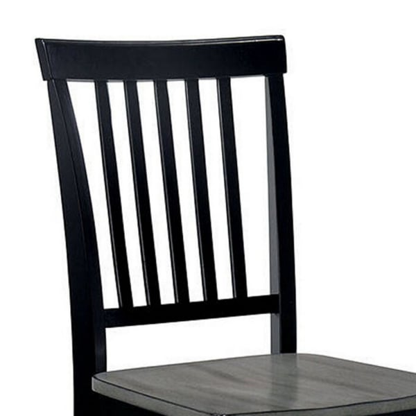 Two Tone Slatted Wood Side Chair, Set of 2, Gray and Black