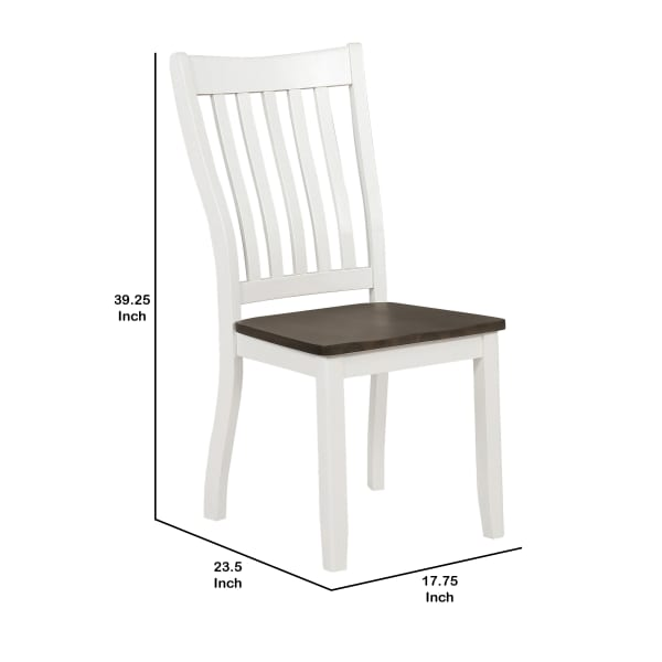 Farmhouse Wooden Dining Chair with Slatted Back, Set of 2, White and Brown
