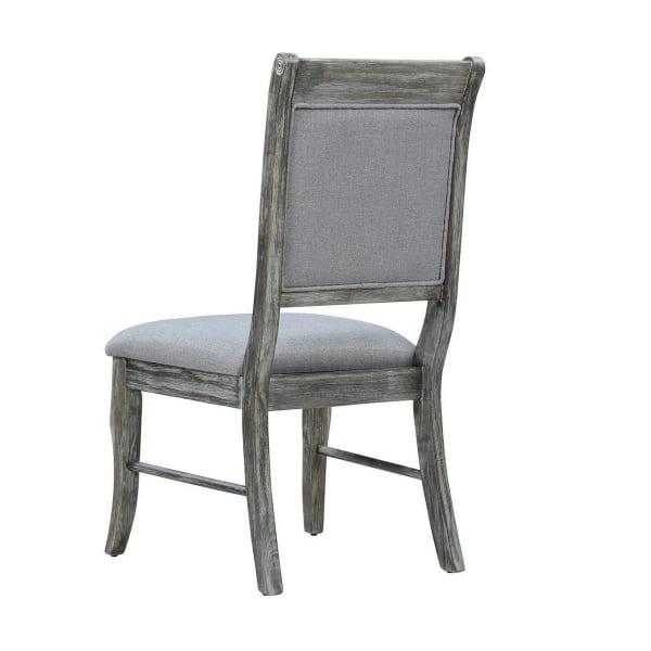 Wooden Frame Fabric Side Chair with Cushion Seat, Set of 2, Weathered Gray