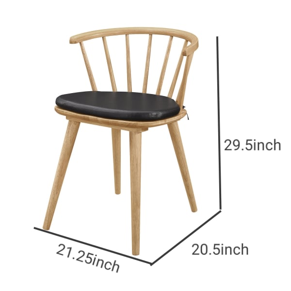 Mid Century Wooden Side Chair with Curved Spindle Design Back, Brown