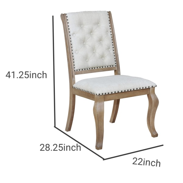 Button Tufted Fabric Side Chair with Cabriole Legs,Set of 2,Brown and Cream