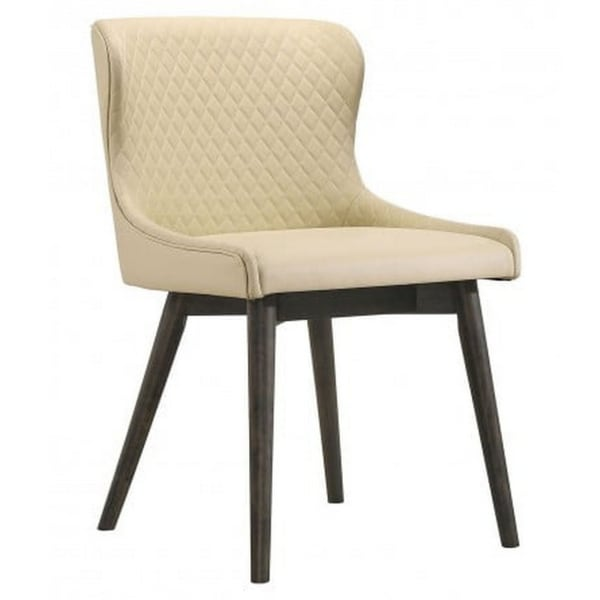 Diamond Quilted Leatherette Side Chair, Set of 2, Cream