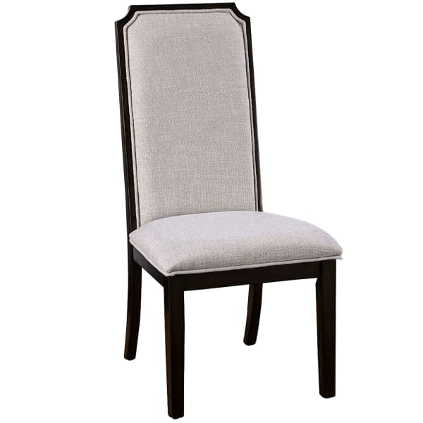 Fabric Side Chair with Wood Frame, Set of 2,Brown and Gray
