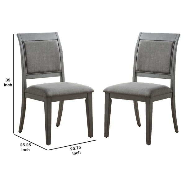 Transitional Fabric Side Chair with Sleigh Padded Back, Set of 2, Gray