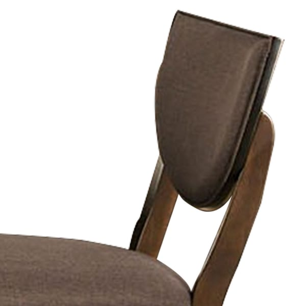 Transitional Fabric Side Chair with Sloped Open Back,Set of 2, Walnut Brown