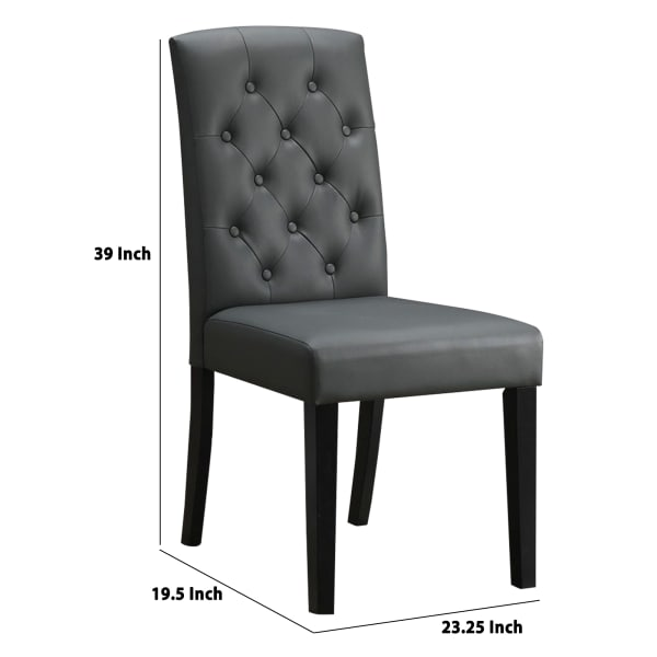 Button Tufted Faux Leather Dining Chair with Wooden Legs, Set of 2, Gray