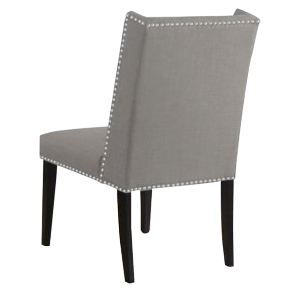 Button Tufted Wingback Fabric Dining Chair with Nailhead, Set of 2, Gray