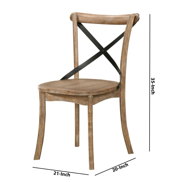 Wood and Metal Side Chair with X Open Back, Set of 2, Rustic Brown and Black