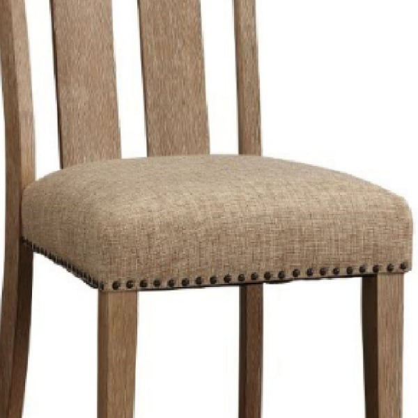 Paneled Back Wooden Side Chair with Padded Seat, Set of 2, Brown