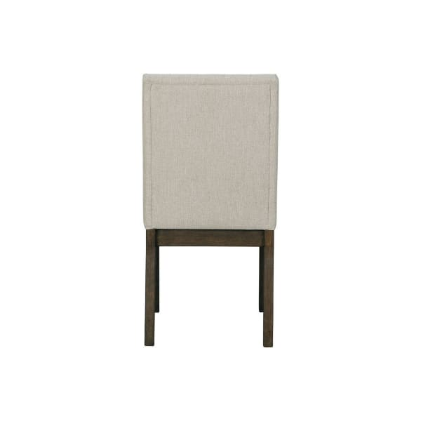 Fabric Upholstered Side Chair with Wooden Legs, Set of 2, Gray and Brown