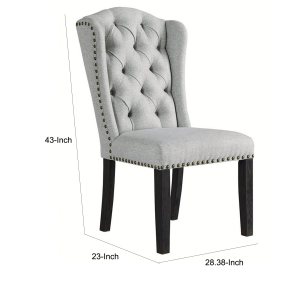 Button Tufted Fabric Upholstered Side Chair with Wooden Legs,Set of 2, Gray
