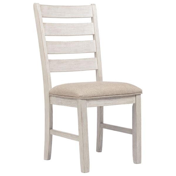 Fabric Dining Side Chair with Ladder Back, Set of 2, White and Brown