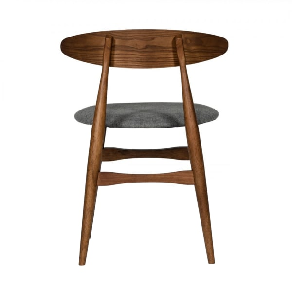Grained Wooden Dining Chair with Padded Seat, Set of 2, Gray and Brown