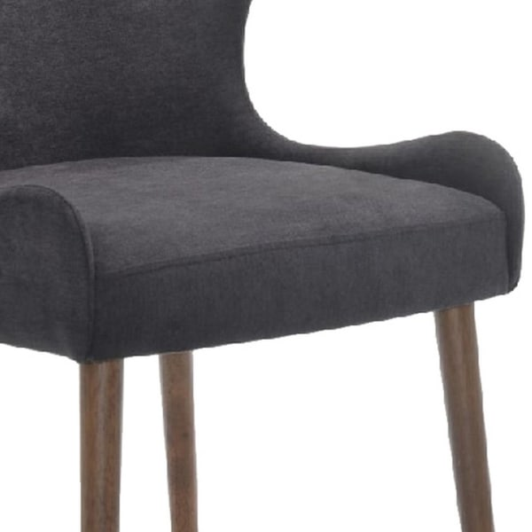 Upholstered Dining Chair with Wing Back Design, Set of 2, Gray and Brown