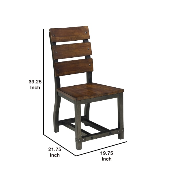Wooden Side Chair with Metal Block Legs and Curved Back, Brown