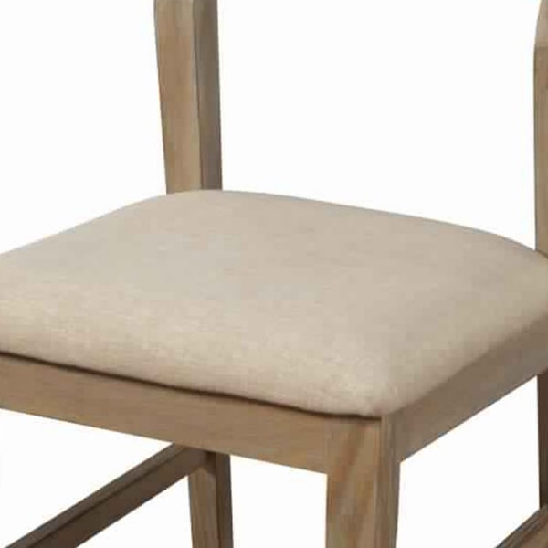 Fabric Upholstered Side Chair with Slatted Back, Set of 2, Beige and Brown
