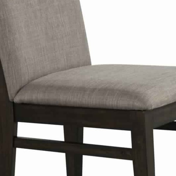 Fabric Upholstered Side Chair with Tapered Legs, Set of 2, Gray and Brown