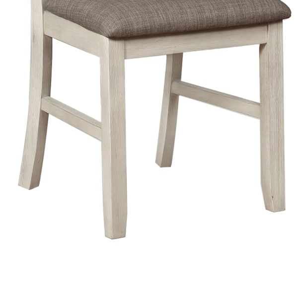 Wood and Fabric Dining Chair with Slatted Backrest, Set of 2, Gray and White