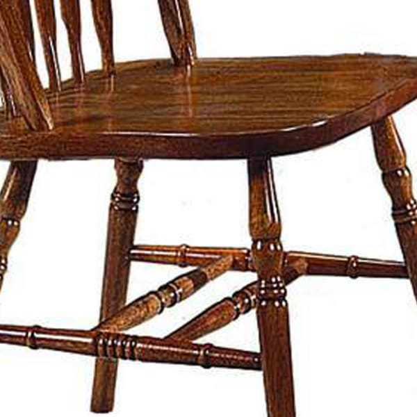 Wooden Windsor Chairs with Arrow Spindle Slatted Backrest, Set of 2, Brown
