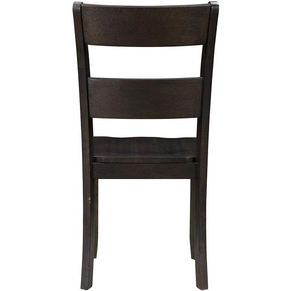 Transitional Wooden Side Chair with Ladder Backrest, Set of 2, Dark Brown