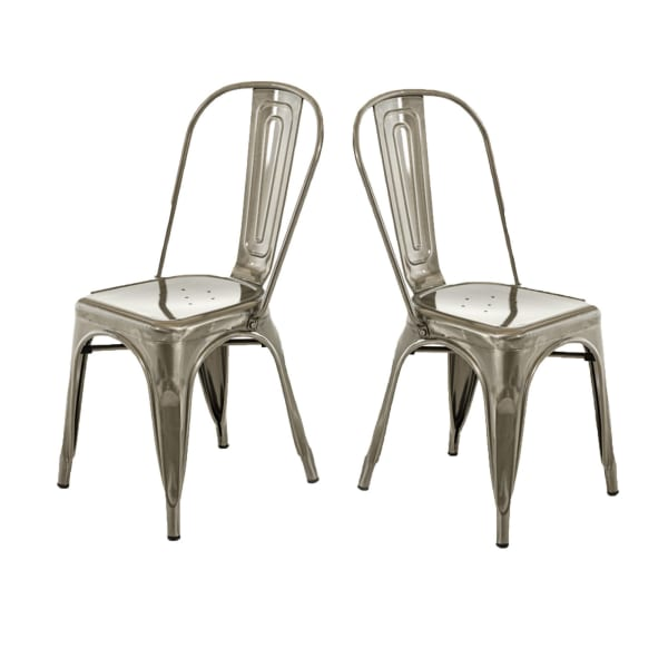 Contemporary Metal Dining Chair with Open Curved Backrest, Set of 2, Gray