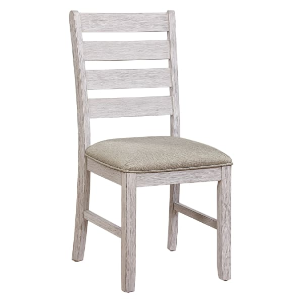 Ladder Style Back Side Chair with Fabric Seat, Set of 2, Antique White