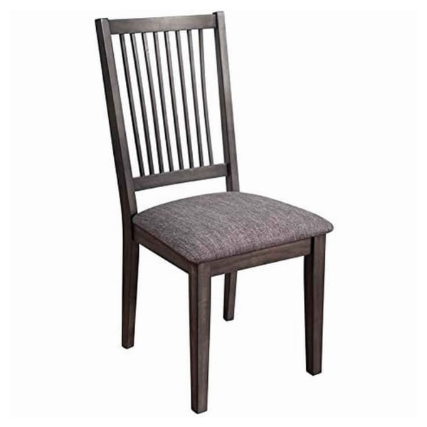 Wood Side Chair with Slatted Backrest and Padded Seat, Set of 2, Dark Brown