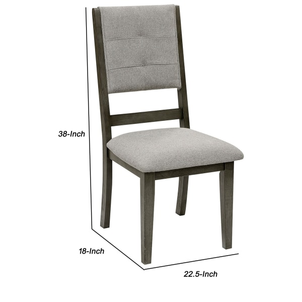 Open Design Back Fabric Side Chair with Wooden Legs, Set of 2, Gray