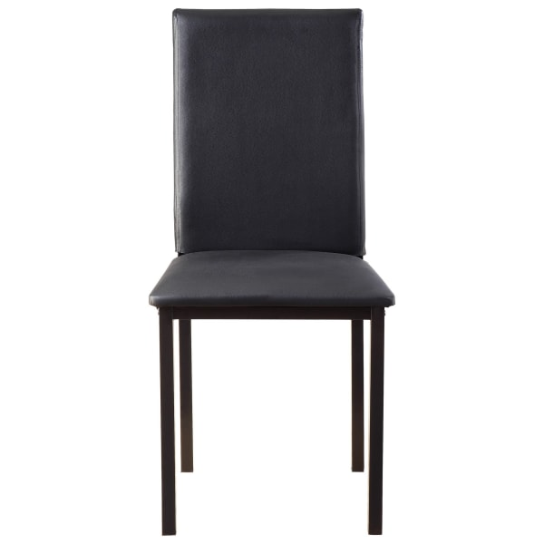 Slim Leatherette Dining Chair with Straight Metal Legs, Set of 4, Black