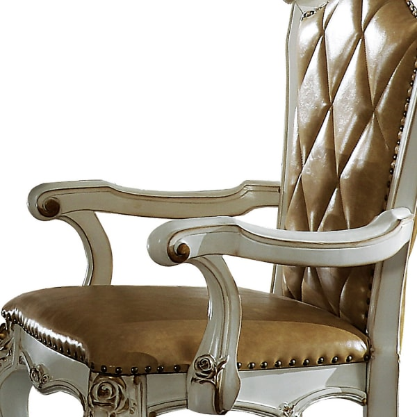 Wood and Leather Dining Chairs with Armrests, Set of 2, White and Brown