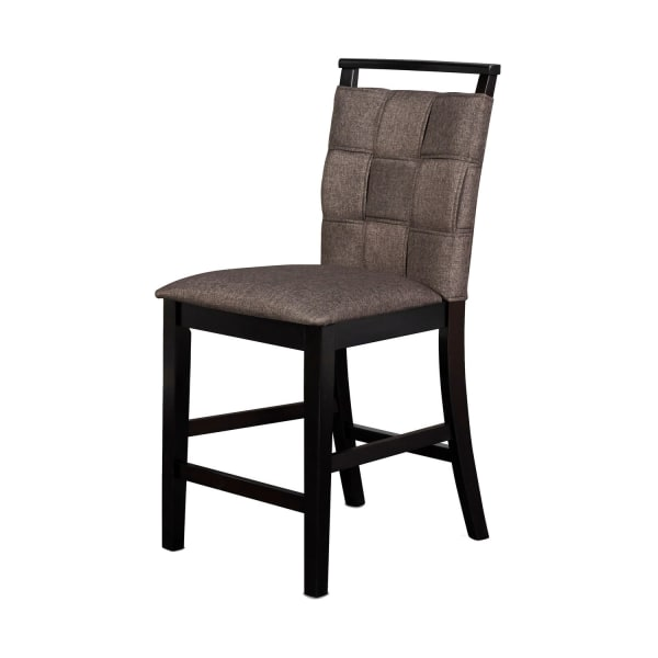 Fabric Counter Chair with Interwoven Backrest and Padded Seat,Set of 2,Gray