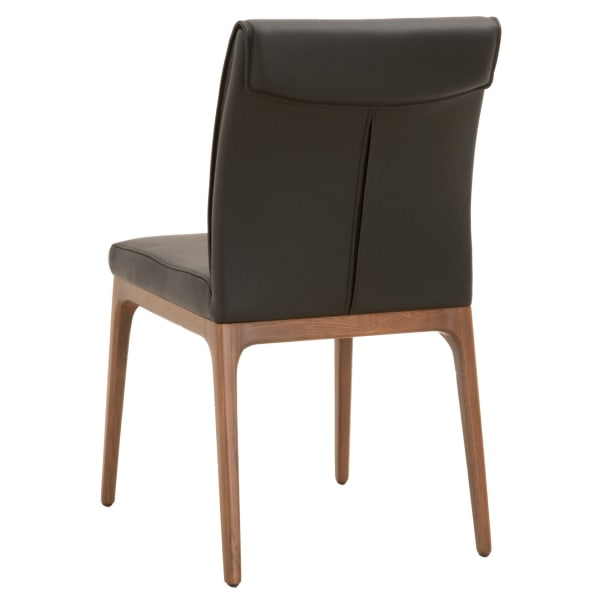 Leatherette Dining Chair with Sleigh Stitched Back,Set of 2, Sable Brown